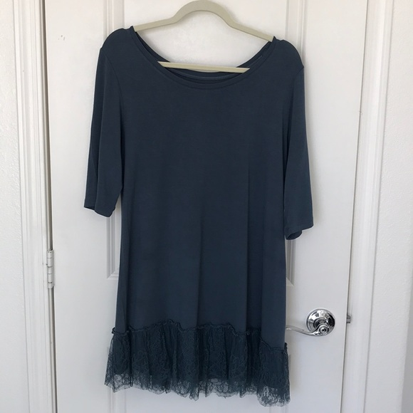 Logo Lori Goldstein Blue Lace Accent Tunic Size L